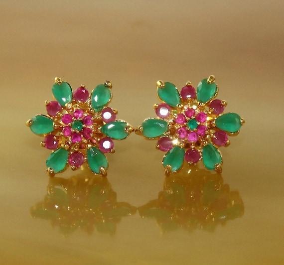 Prong Set Earrings Bridal Wedding Earrings 22kt Gold Plated Faceted Ruby Pink Stone Earrings w Backings Gift Idea EZ01 Gemstone Jewelry