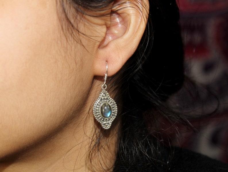 39x14mm 925 Sterling Silver Oxidized Natural Labradorite Earrings  Gemstone Earrings  Handmade Artisan Jewelry  Christmas Gift Gift Idea
