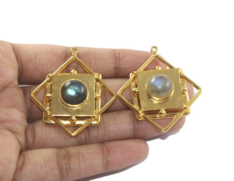 Feb /& March Birthstone Gemstone Gold Pendant Earring Findings 42x38mm 22kt Gold Plated Labradorite Pendant DIY Jewelry Making Supplies