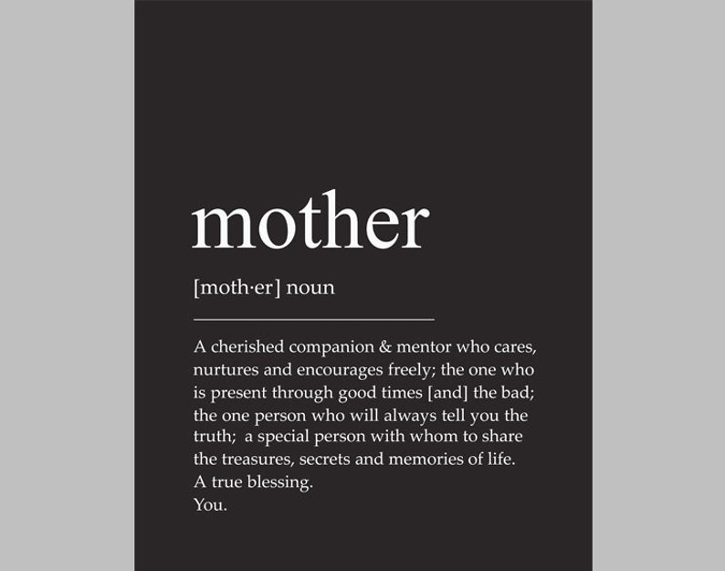 Mother Print, Mother Definition, Mother Poster, Mother Quote, Mother Wall  Art, Mother Printable, Mother Word, Mother Art, Mother Sign, Gift