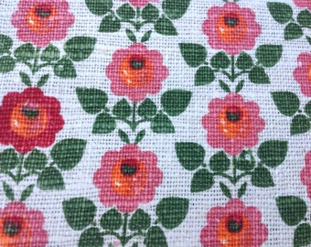 17m x 120cm Bolt of Vintage Floral Home Decorating Fabric from Austria 100% Linen For Retro Interiors Curtains Lampshades