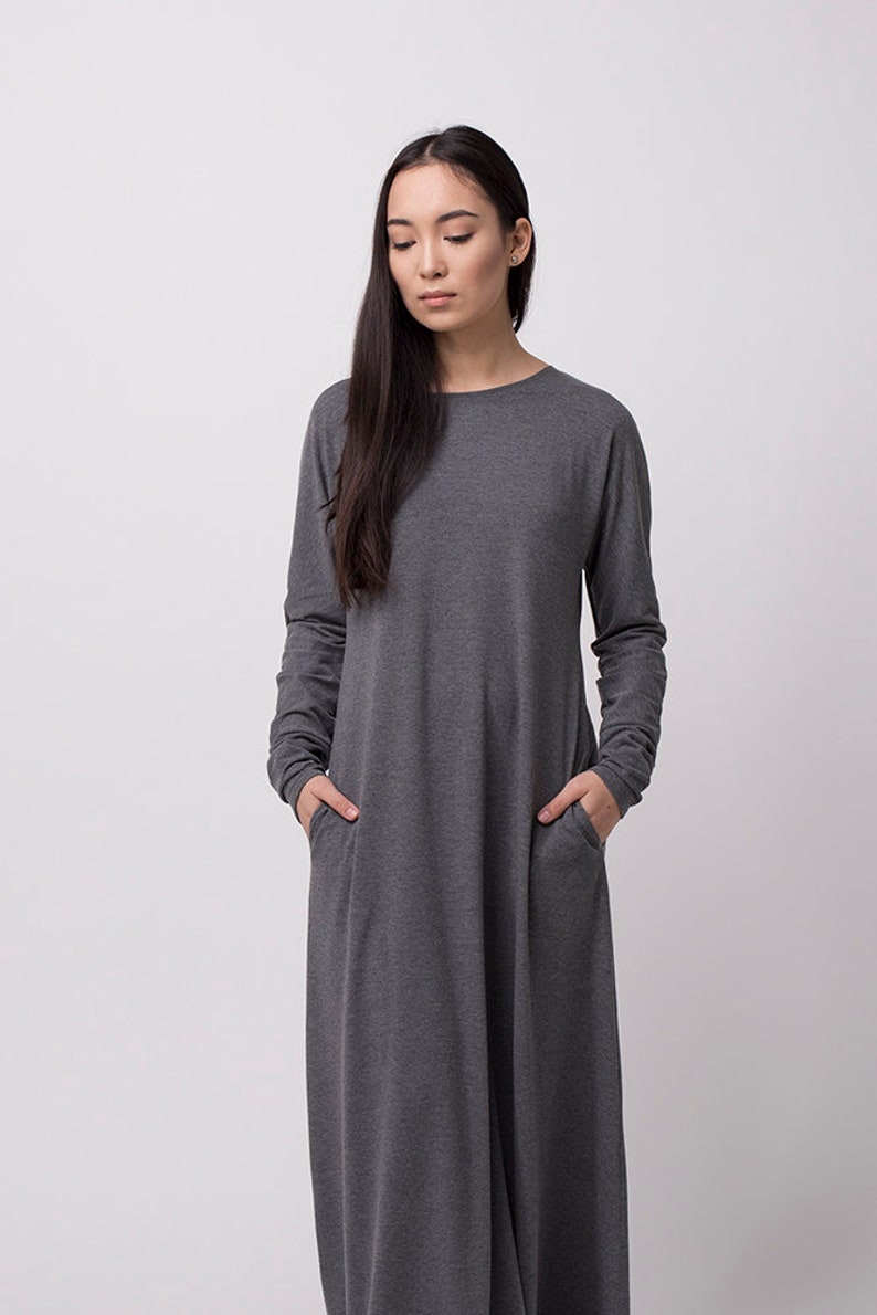 3ef3a1f9ca7 Gray maxi dress with long sleeves Minimalist loose gown Simple