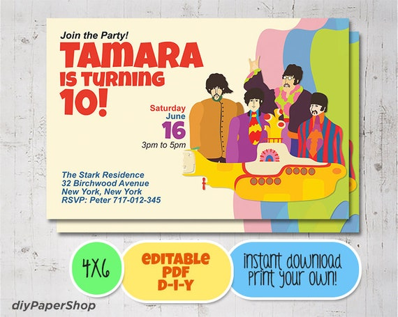 Beatles Birthday Invitation Abbey Road Yellow Submarine Etsy