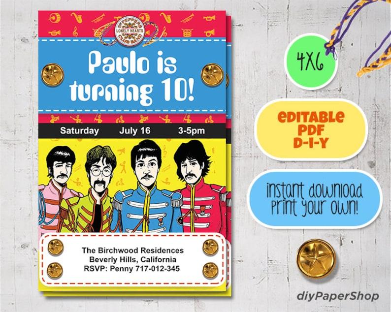 Beatles Birthday Invitation Sgt Pepper S Yellow Etsy