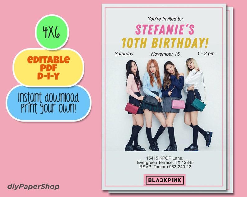 Blackpink Invitation DIY Printable, Kpop invite, korean music invitation,  girl band, blackpink party, bts, k-pop party