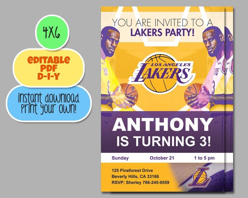 Los Angeles Lakers Invitation Birthday Invitations Party Printable Lebron Invite LA Showtime AD LBJ