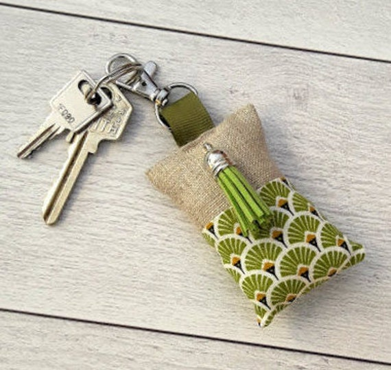 Art Deco CoralGold and White Lin Fabric Key Holder Bag Jewel Custom Handmade in France