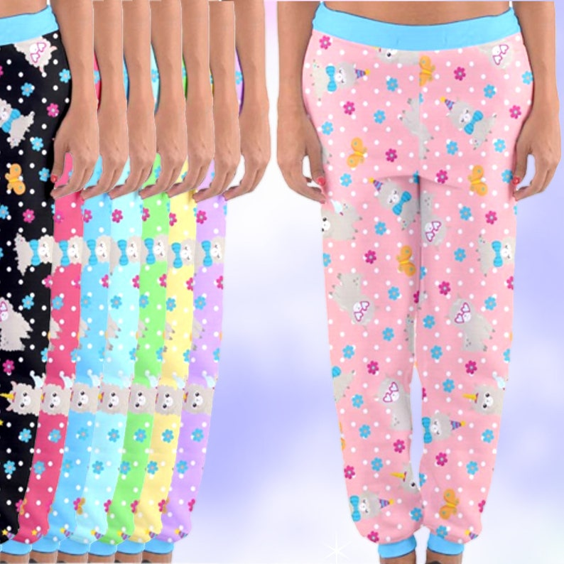 b9186c48875fd Cute Llama Party Pastel Joggers Pants, fairykei pants, yami kawaii pants,  boy style fairykei, kawaii boy, fairy kei boy, pastel kei