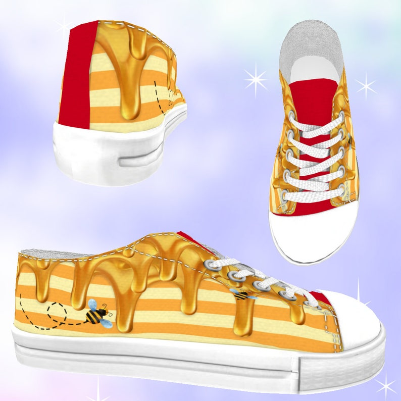 abcf89d705b21 KIDS Winnie Bear Honey Low Top Sneakers, bee shoes, bumble bee shoes, pooh  bear, winnie the pooh, disneybounding, disney shoes, pooh party
