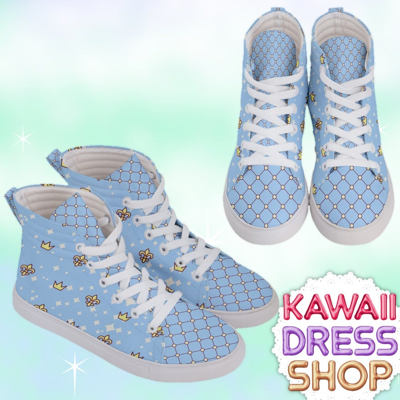 abf00d0b7d8a7 Anime Princess Adult High Top Sneakers Royals, kawaii shoes, fairy kei  shoes, pastel kawaii shoes, pastel shoes, cute shoes, heart shoes