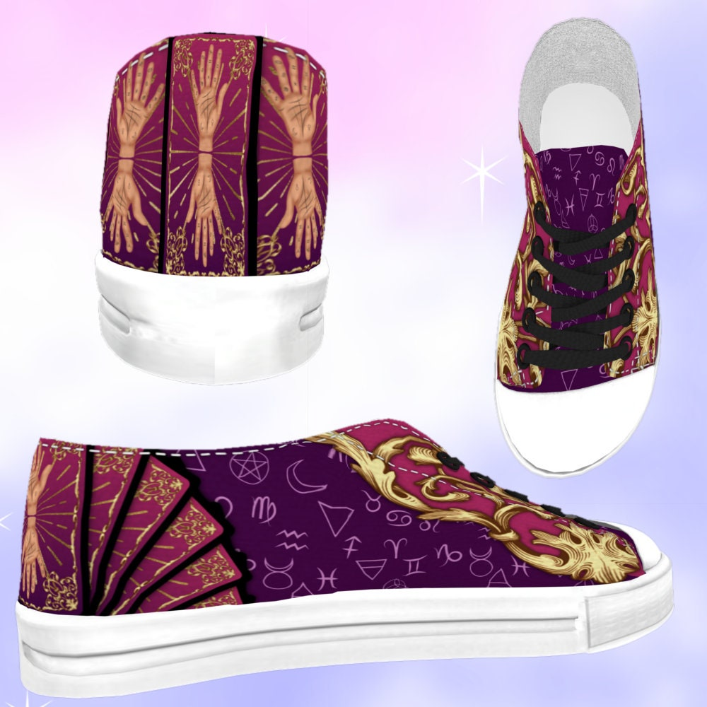 0599db67bf53b KIDS Facilier Inspired Low Top Sneakers, kawaii shoes, facilier costume,  disneybounding, witchy shoes, cute goth, creepy cute, goth shoes