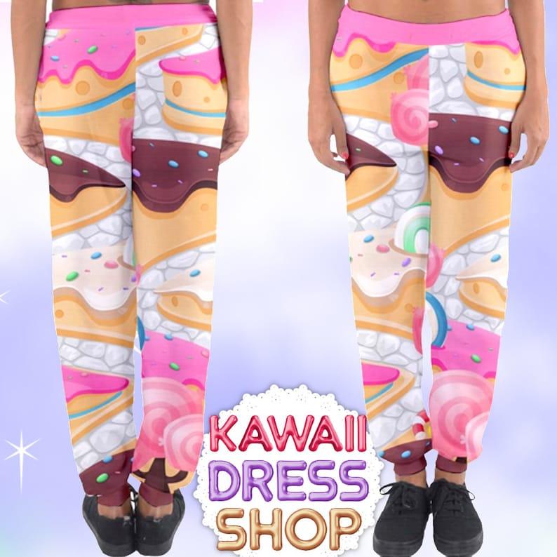 4f7611a1c549b Candy Games Print Pastel Joggers Pants, fairykei pants, yami kawaii pants,  boy style fairykei, kawaii boy, fairy kei boy, candy print