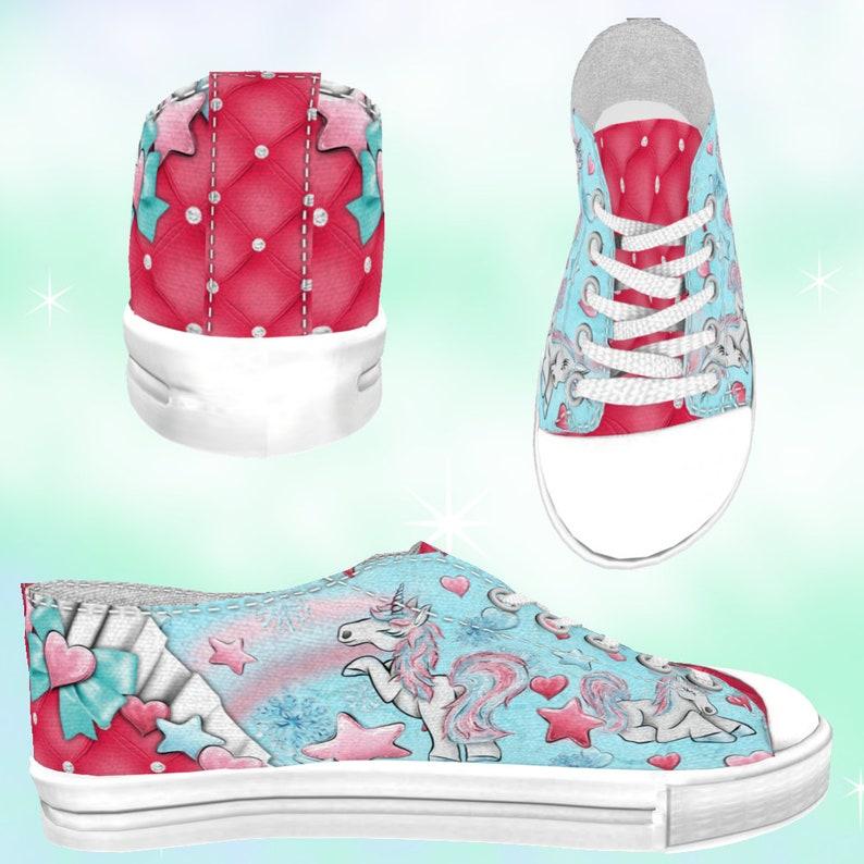 rainbow shoes ADULT Winter Unicorns Rainbows Low Top Sneakers Blues unicorn party kawaii shoes unicorn shoes rainbow print