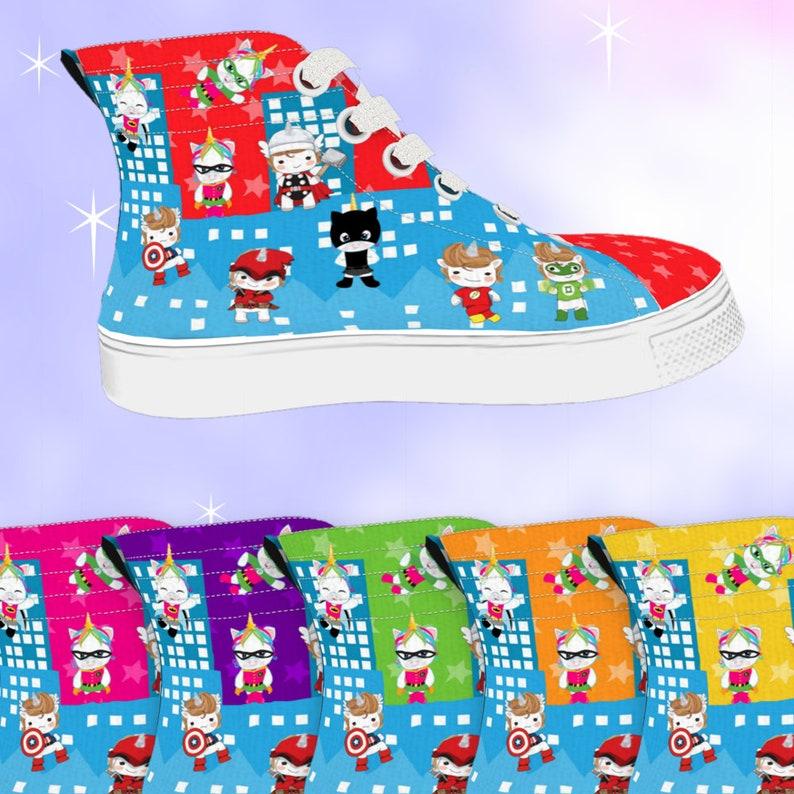 465a9dc7d6866 KIDS Unicorn Superhero High Top Sneakers Blue City, kawaii shoes, unicorn  shoes, unicorn sneakers, superhero shoes, superhero sneakers
