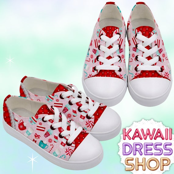 8f6f07110de14 KIDS Pretty Peppermint Sweets Low Top Sneakers, kawaii shoes, Christmas  shoes, peppermint shoes, Christmas shoes, preteen sneakers