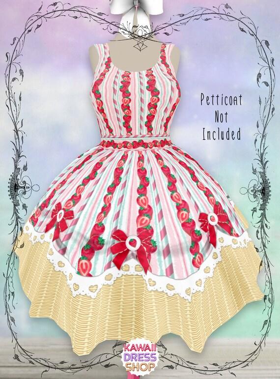 ADULT Strawberry Basket Dress & Skirt, XS-5XL, plus size lolita, sweet  lolita, strawberry dress, strawberry shortcake, shortcake party