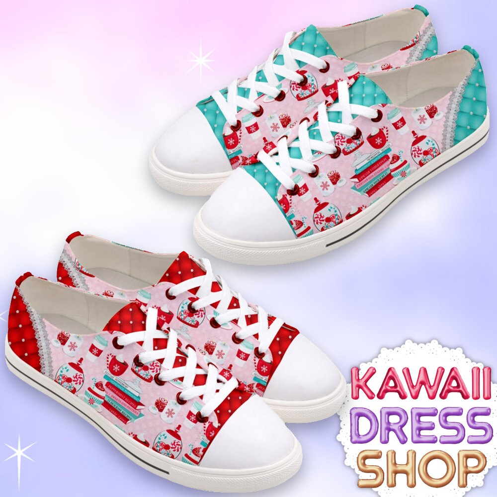 38b759928bd0b ADULTS Pretty Peppermint Book Lovers Low Top Sneakers, kawaii shoes,  librarian chic, peppermint shoes, Christmas shoes, book lovers shoes