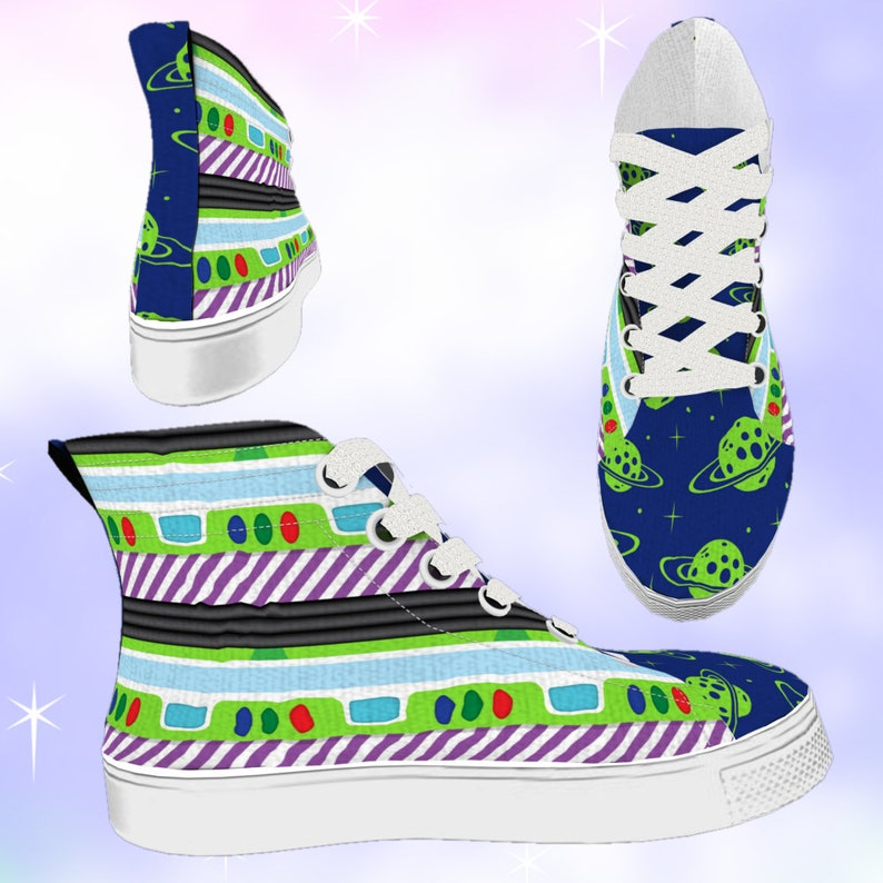 62c5edaeddc01 KIDS Space Ranger High Top Sneakers, disneybounding, disney shoes, toy  story, buzz lightyear, toy story birthday, toy story party