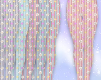 Harajuku Magical Unicorns Tights in Stripes XS-3XL, karajuku tights, kawaii tights, lolita tights, pastel tights, pink lolita tights