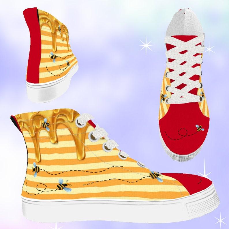 21d338656b9dc KIDS Winnie Bear Honey High Top Sneakers, bee shoes, bumble bee shoes, pooh  bear, winnie the pooh, disneybounding, disney shoes