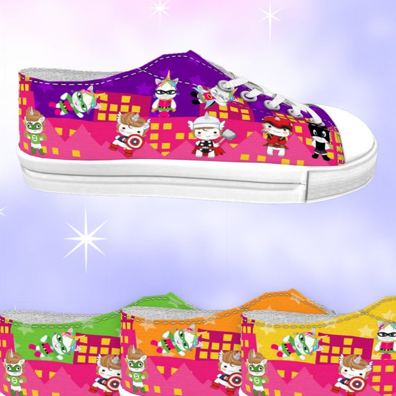 e82f4fb52f02d ADULT Unicorn Superhero Low Top Sneakers Pink City, kawaii shoes, unicorn  shoes, superhero shoes, superhero sneakers, unicorn sneakers