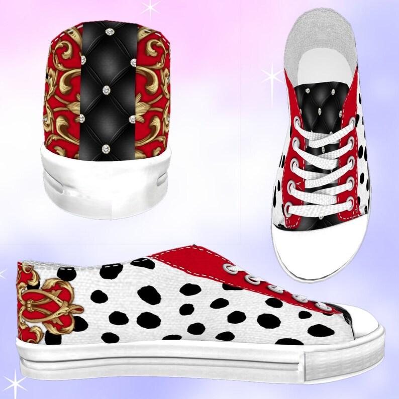db8da694b6b0c ADULTS Cruella Low Top Sneakers, disneybounding, cruella deville, cruella  de vil, cruella dress, disney cosplay, disney shoes