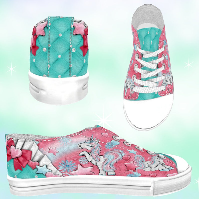 57f2f7116259d ADULT Winter Unicorns Rainbows Low Top Sneakers Dark Pinks, kawaii shoes,  unicorn shoes, unicorn party, rainbow print, rainbow shoes