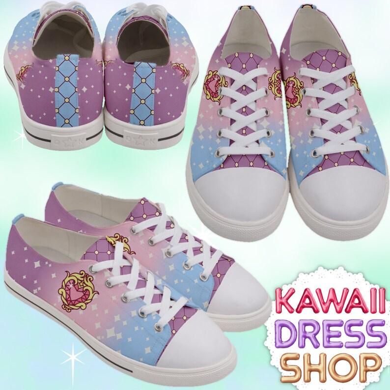 5984566e94473 ADULT Anime Princess Low Top Sneakers Rainbow, kawaii shoes, fairy kei  shoes, pastel kawaii shoes, pastel shoes, cute shoes, rainbow shoes