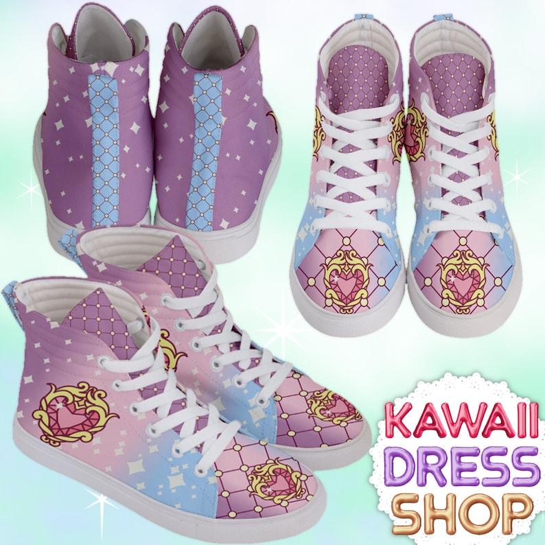 f238291f6c4e7 ADULT Anime Princess Adult High Top Sneakers Rainbow, kawaii shoes, fairy  kei shoes, pastel kawaii shoes, pastel shoes, rainbow shoes