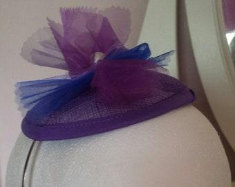 Hand Made Purple Flower Fascinator