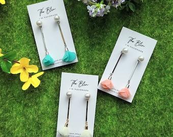 Lovely Spring Mood Earrings / Flower Earrings / Silver Post / Tassel Earrings / Lovely Earrings