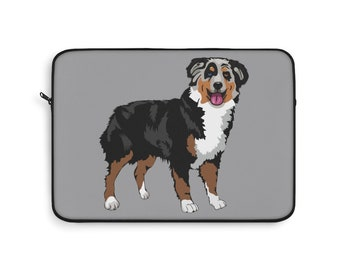 Gao808yuniqi Australian Shepherd Christmas Cute Aussie Dogs Laptop Sleeve Shoulder Bag for Women Notebook,Slim Sleeve Protective Carrying Case Compatible with 13-15 Inch MacBook Pro Air