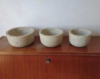 Set of 3 Papercrete Bowls | Outer radius = 22 cm, 18 cm, 15 cm | Height = 11 cm