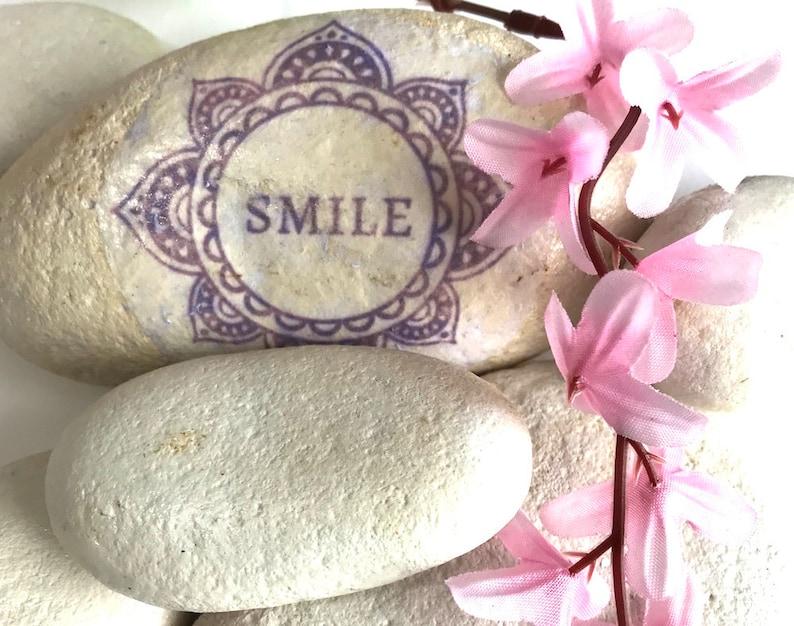 Large Smile Pebble Gratitude Gift Ideas Under 10 For Her Meditation Birthday Idea