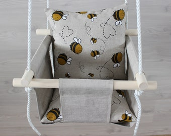 Black Swing for baby with linen Plus sign pillow Swing for toddler scandinavian style for kids First birthday gift for girl or boy