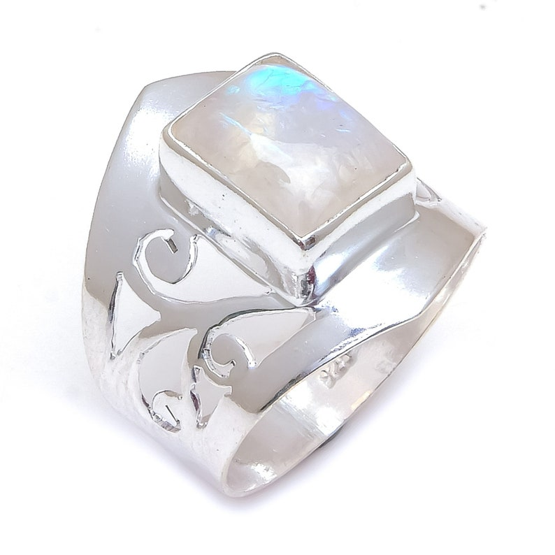Natural White Rainbow Moonstone Ring,925 Sterling Sliver Ring,Handmade Silver Ring,Blue Fire Moonstone Ring,Ractangle Shape,Gift For Mother