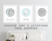 Set of 3 Personalized City Map Prints City Map Wall Art, Custom Map Gift, Customized Map Poster, City Map Wall Art Posters