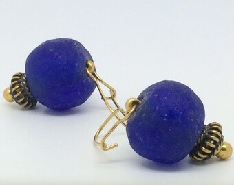 Unique Stud Earrings in vermeil and recycled glass