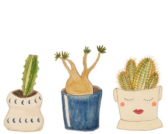 Three Succulents Painting