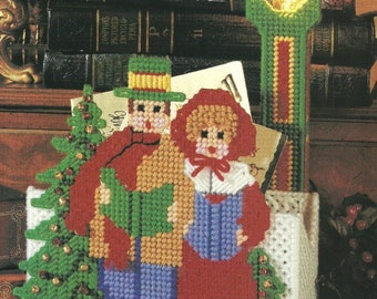 christmas carolers card or candy holder vintage 7ct plastic canvas pattern digital download pdf