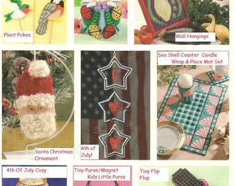 20 Summer Fun Projects / Tissue Box Cover/ Magnets / Plant Pokes / Coasters / Vintage 7 Ct Plastic Canvas Patterns / Digital Download