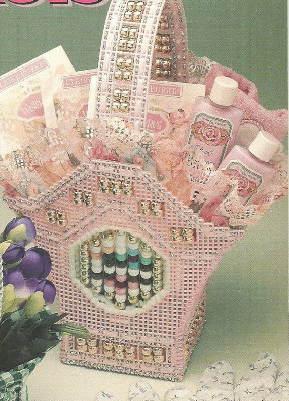 Pink Victorian All Occasion Beaded Gift Basket 7 Ct Mesh Etsy