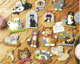 16 Cat Magnets/Gift Tags / Ornaments / Cat Lovers / Vintage 7 ct Plastic Canvas Pattern / Digital Download