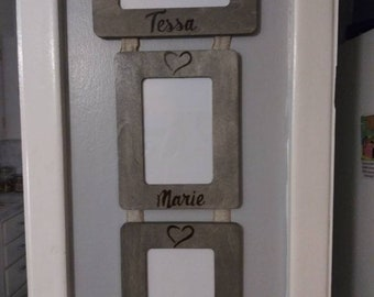 Personalized Engraved Hanging Triple Trio College Rustic  Wood 4 x 6 Picture Photo Frame / Seven K