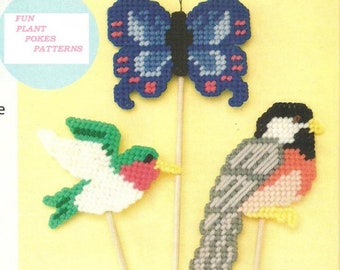 Hummingbird, Chickadee & Butterfly Plant Pokes / Magnets / Ornaments / Vintage 7ct Plastic Canvas Pattern / Digital Download