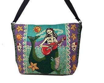 39b01b9d03ff Skull Mermaid Ethnic Purse Sugar Skull Bag Handbag Mexican Art Purse