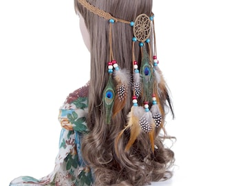 Feathers Boho Tassel For Hair Accessory Bohemian Festival Gypsy
