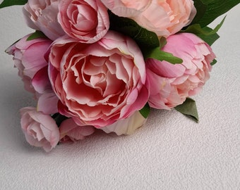 artificial peony bunch, faux pink peony, artificial peony, artificial flowers, faux pink flowers, pink peony, vintage peony, pink peonies