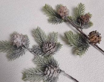 artificial flowers, pine cones, xmas flowers, faux snow, xmas stems, xmas home decor, wreath decor, tree decor, snowy pine spray, wreaths