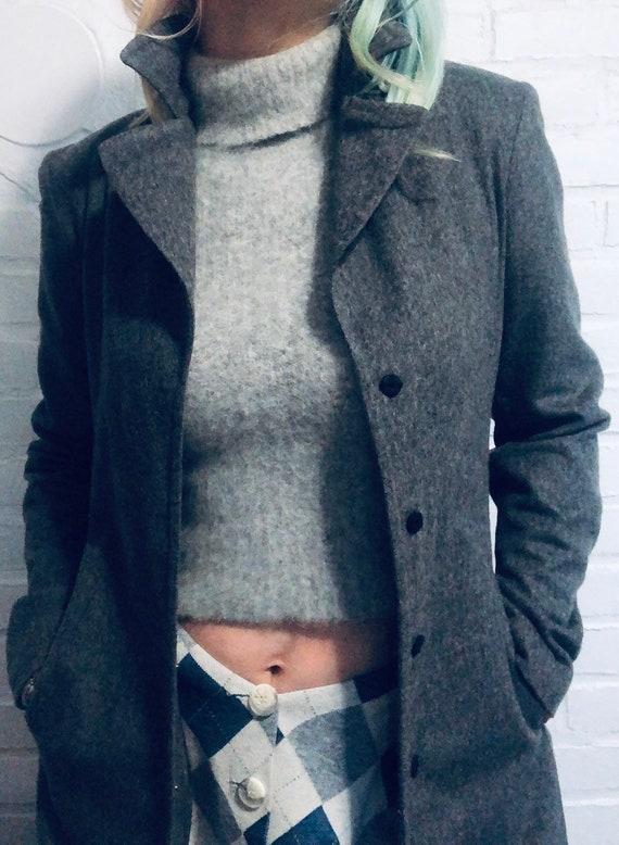 90s Vintage Light Heathered Grey Angora Sleeveles… - image 5